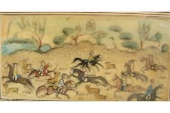 cacciatori persiani su cavalli pezzati appaloosa