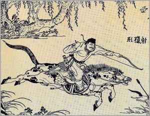 cina cacciatore su cavallo appaloosa