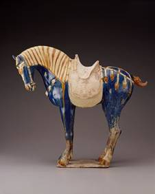 cina tang dynasty cavalli appaloosa statuetta 2