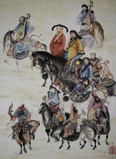 cina tang dynasty cavalli appaloosa uomini