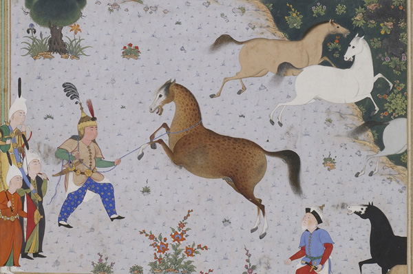 il persiano eroe Rostam cattura il suo cavallo sovrannaturale Raksh