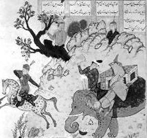rostam e il suo stallone maculato rakhs con un elefenate