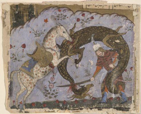 Rostam e Raksh cavallo appaloosa uccidono un drago